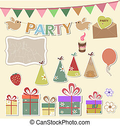 Party design elements for scrapbook - Color party design...