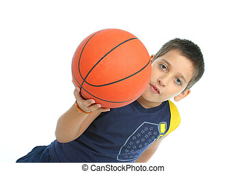 Boy playing basketball isolated From my sport series