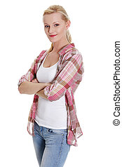 Lovely young blond woman in casual clothing