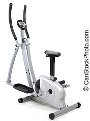 Eliptical gym machine. Health and fitness object over white...