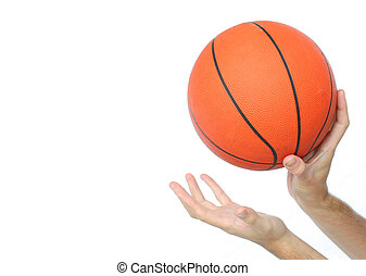 Hands throwing or catching a basketball ball isolated From...