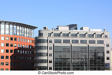 High-tech style building - Office building in Moscow. Here...