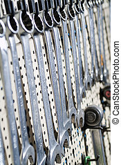 Spanner set - Set of many wrenches hanging on the wall