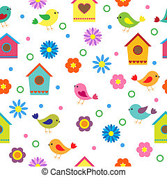 Colorful seamless pattern with birds and birdhouses