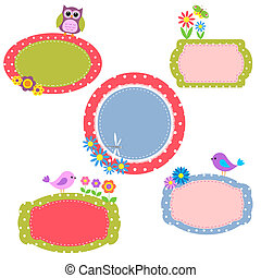 Cute frames with flowers and birds.Vector collection
