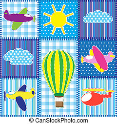 Patchwork with colorful aircraft.Seamless baby background