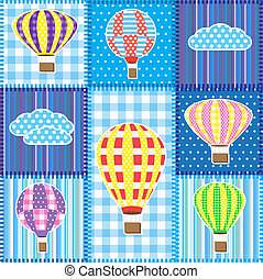 Patchwork with hot air balloons - Patchwork with colorful...
