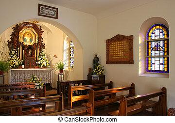 interior, poco, iglesia