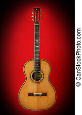 Guitar over red background Beautiful musical instrument