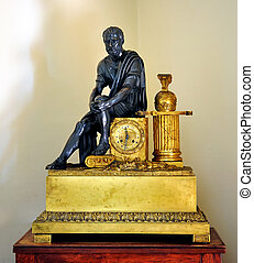 Antique clock with a statue of Count Vorontsov House Museum...