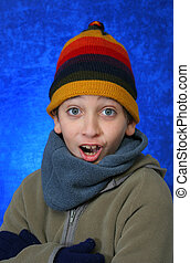 Boy doing fun expression in winter outfit Look at my gallery...