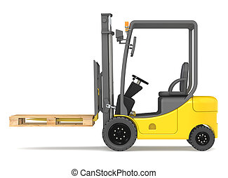 Forklift. - Side view of a Forklift Truck with an empty...