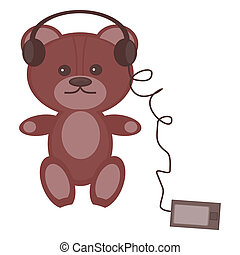 nice teddy bear with headphones