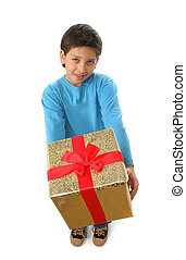 Boy with a christmas gift - Cute boy with a christmas gift