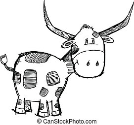 Sketch Bull Cattle Animal Vector
