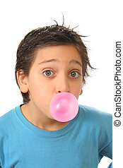 Boy blowing a pink bubble gum - Bubble gum boy portrait with...