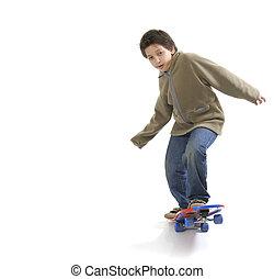 Cool skater boy - Cool boy skateboarding. Full boy, white...