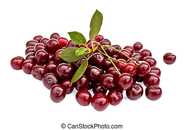 Cherry bunch - Lots of ripe cherries and a sprig of green...