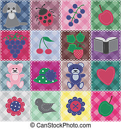 patchwork background with different patterns and objects