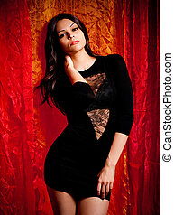 young woman in fashion dress - Sexy young woman in fashion...