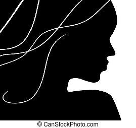 woman profile over white background - Woman profile over...