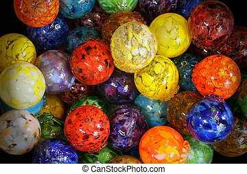 Multi Colored Blown Glass Balls - Blown glass balls, multi...