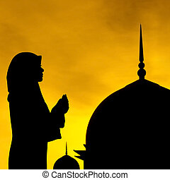 Muslim prayer and mosque - Silhouette of prayer and mosque...