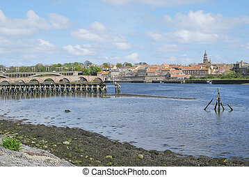 looking over the river Tweed to Berwick-upon-Tweed medieval...