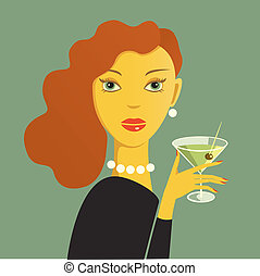 femme fatle - Red haired woman holding a dry martini