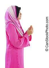 Muslimah - Female Muslim prayer on white background