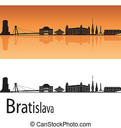 Bratislava skyline in orange background in editable vector...