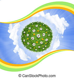 Nature green grass planet with flowers on sky background