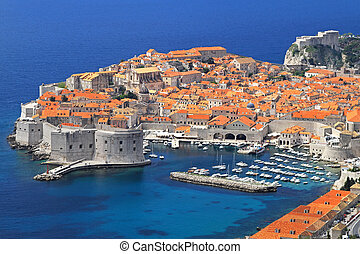Dubrovnik - Aerial shot of old sunny Dubrovnik city