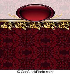 burgundy frame - vintage gilded emblem on burgundy...