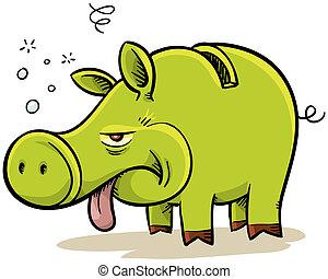Sick Piggybank - A cartoon piggybank is sick from the...
