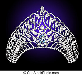 wedding diadem with blue stone