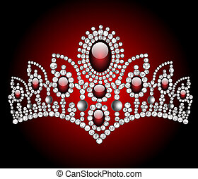 wedding diadem with red stone