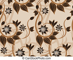 Brown floral seamless background