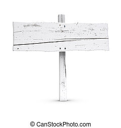 blank wooden sign white color