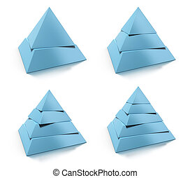 3d abstract pyramid set, two, three, four, five levels, blue tone over white background, design elements with reflection