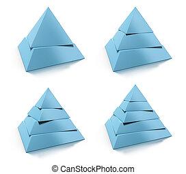 blu, due, piramide, tono, riflessione, livelli, set,...
