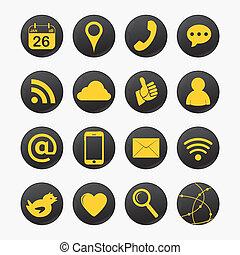 social yellow icons - set of social yellow icons