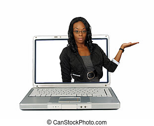 Beautiful Hostess on a Laptop Screen 1 - A lovely young...