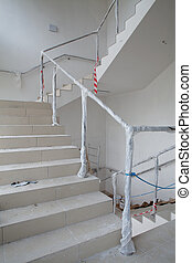 stairway renovation - renovation of stairway, handrail with...