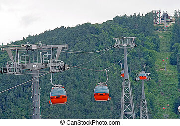 Cable car equipment in a mountain resort (Piatra Neamt)