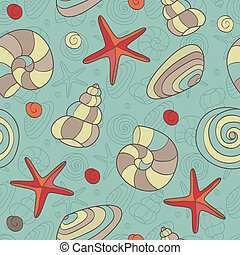 seamless pattern with shells and starfish
