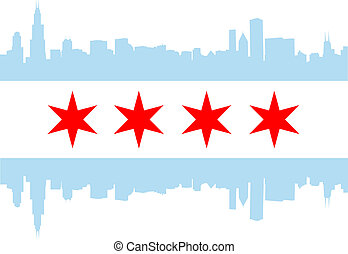 Chicago flag - City of Chicago flag with high rise buildings...