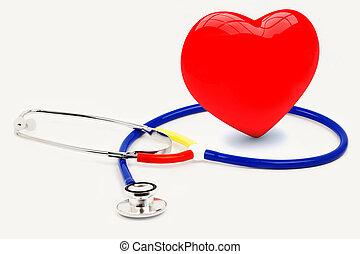Stethoscope with heart on a light grey background