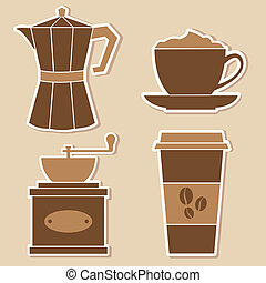 Coffee Stickers - A set of four coffe stickers.
