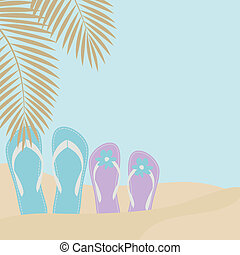 Love on the Beach - Illustration of two pairs of flip-flops...